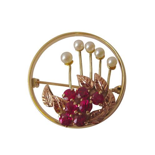 English Ruby & Pearl Flower Brooch
