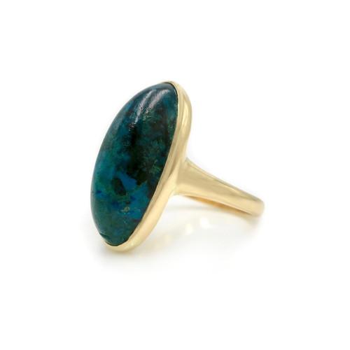 a620389d7 Antique Azurite-Malachite Cabochon 10K Rose Gold Navette Ring