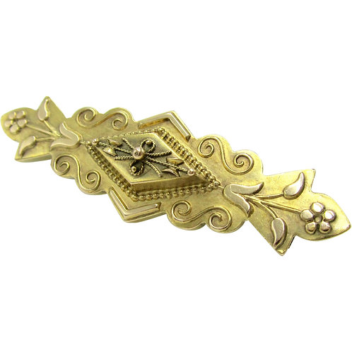 Victorian 15K Gold Archaeological Revival Brooch