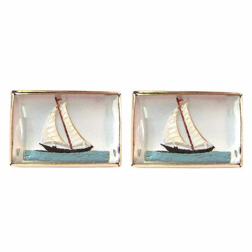 Vintage Essex Crystal Sailboat Cufflinks 14K Gold