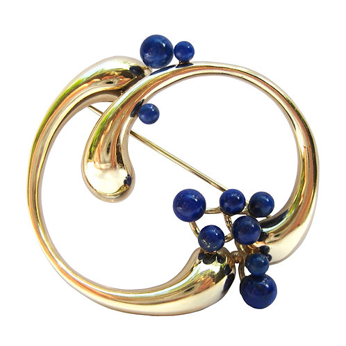 Lapis Lazuli Abstract 14K Gold Circle Brooch Pin