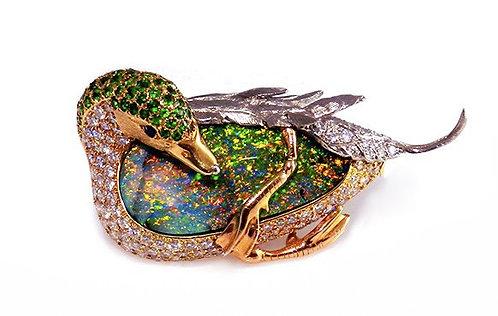 Boulder Opal & Demantoid Garnet Duck Brooch