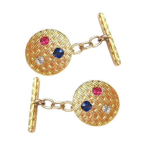 French Antique Sapphire, Diamond, Ruby Cufflinks