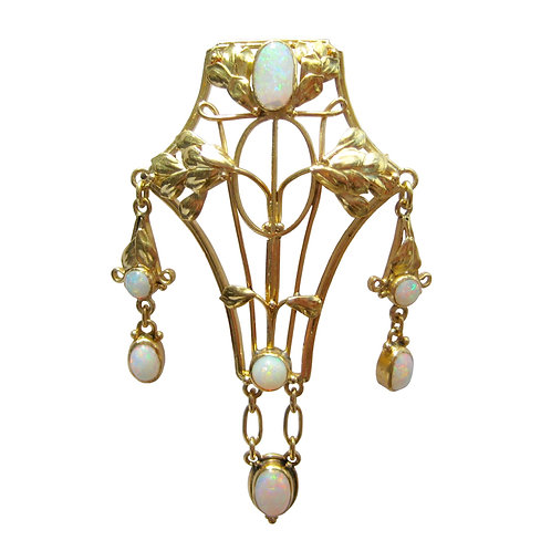 Arts & Crafts Movement Crystal Opal 18K Brooch Pin
