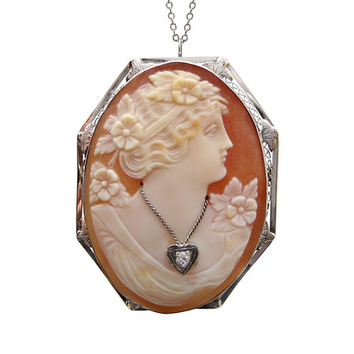 Vintage White Gold Cameo Habille Pendant / Brooch