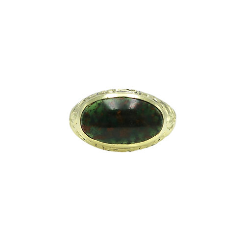Allsopp Bros. Antique Bloodstone & Hand Engraved 14K Gold Pinky Ring