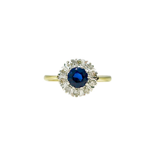 Vintage Sapphire & Diamond 18K Gold Cluster Engagement Ring