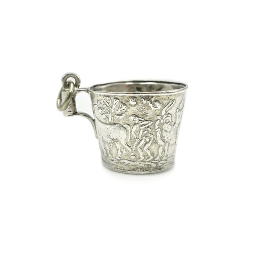 Vintage Ancient Greece Vaphio Cup Charm | 900 Silver Repoussé Souvenir