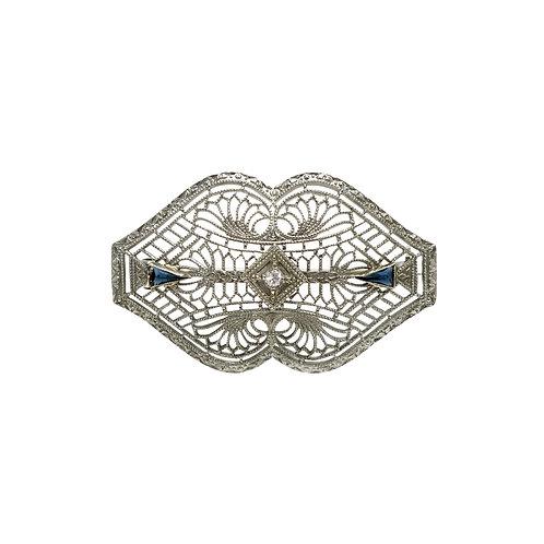 Vintage Diamond & Sapphire Art Deco 10 Karat White Gold Filigree Brooch