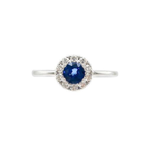 .51 Carat Sapphire & Diamond Halo Cluster Engagement Ring