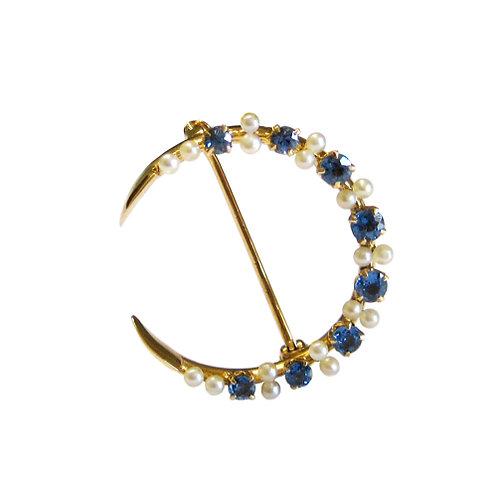Montana Sapphire & Pearl Crescent Brooch
