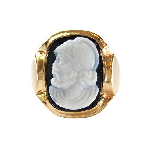 Black Sardonyx Roman Soldier Hardstone Cameo Ring
