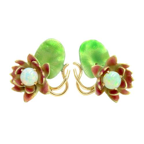 Krementz & Co. Opal & Enamel Art Nouveau Lotus Earrings