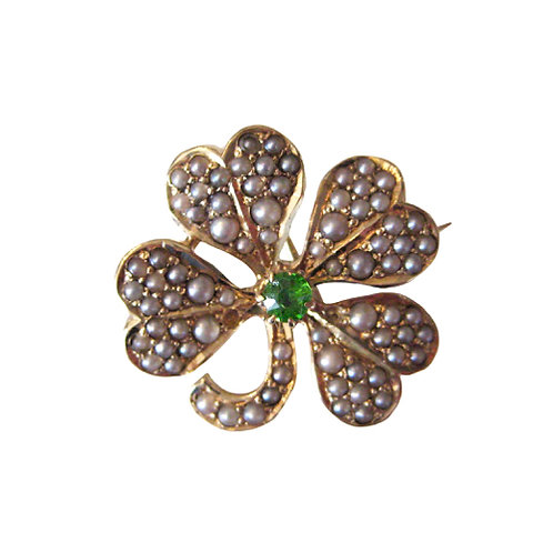 Demantoid Garnet Four Leaf Clover Brooch