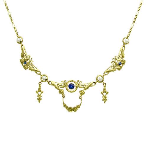 Fine French Art Nouveau Sapphire & Pearl Necklace