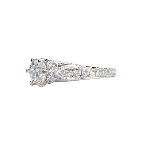 1.10 CTW Diamond Engagement Ring 18K White Gold