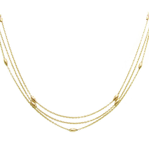 Extra Long Antique Gold Bead Layering Necklace