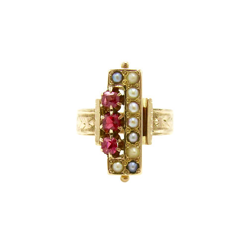 Ruby & Seed Pearl Victorian 14K Rose Gold Ring