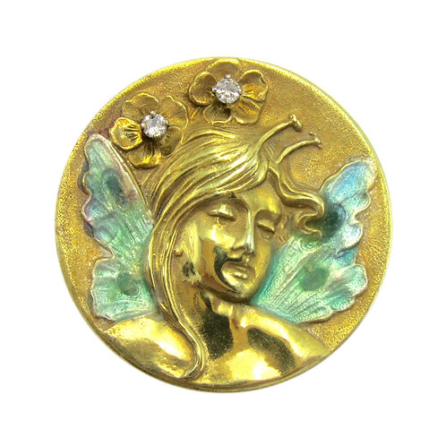 Art Nouveau Fairy Enamel & Diamond Circle Brooch