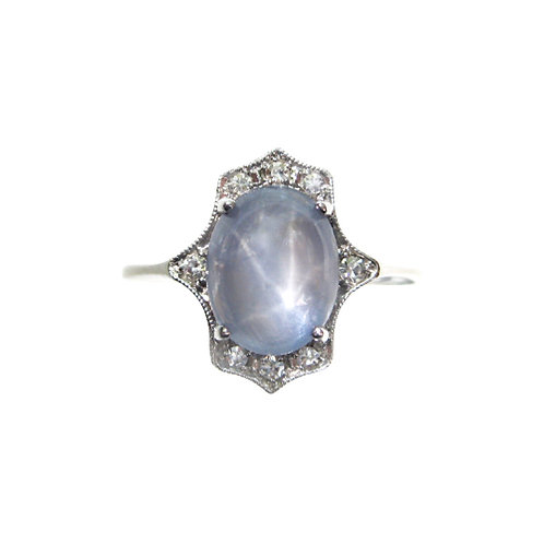 Star Sapphire & Diamond Engagement Ring