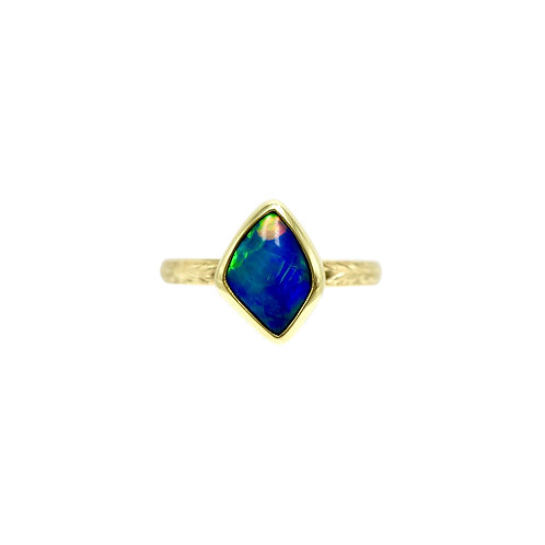 Solid 1.51 Carat Black Opal & Engraved 18K Handmade Ring