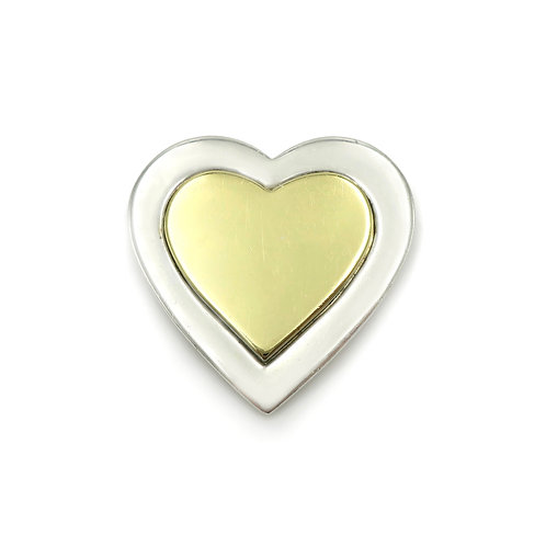 Vintage Tiffany & Co. 18K Gold, Sterling Silver Heart Brooch / Pin