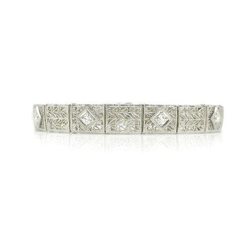 Vintage Kohn & Co. Diamond, 14K White Gold Filigree Art Deco Bracelet