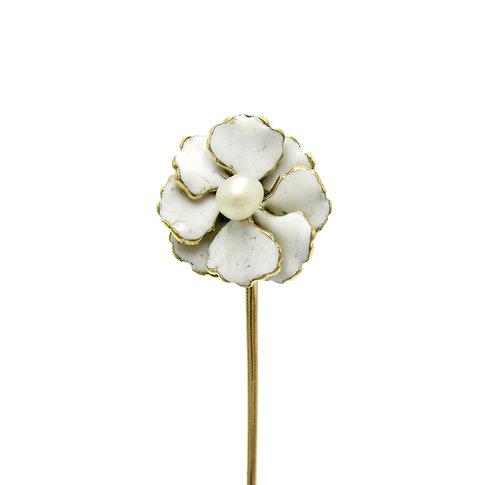 White Enamel & Pearl Art Nouveau Flower Stick Pin