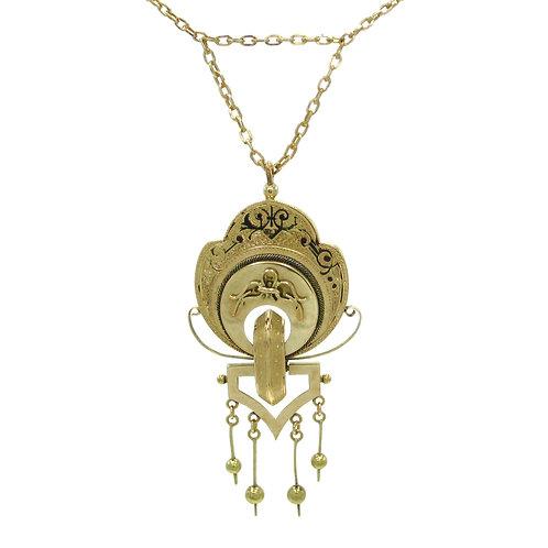 Victorian Taille d'Epargné  Enamel Tassel Necklace
