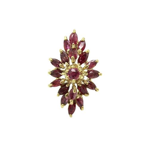 Vintage 2.75 ctw Ruby & 14K Gold Navette Ring