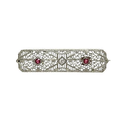 Art Deco Ruby & Diamond 14K White Gold Filigree Vintage Brooch