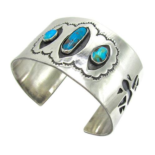 Vintage Navajo Turquoise Silver Thunderbird Cuff