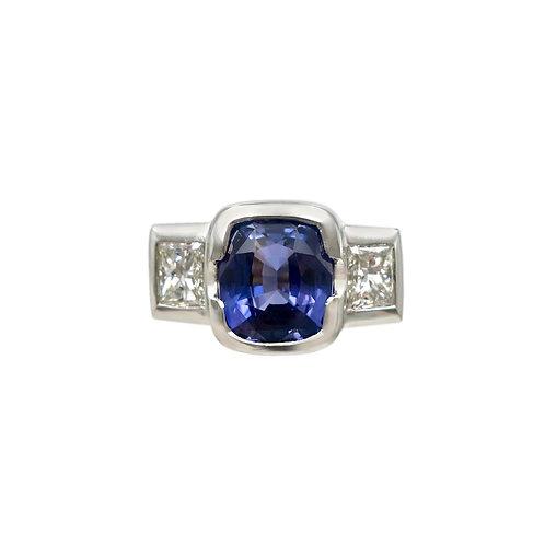 Handmade 3.90 Carat Natural Indigo Sapphire & Princess Cut Diamond Platinum Ring
