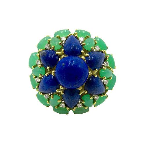 Lapis Lazuli, Chrysoprase, & Diamond 18K Ring