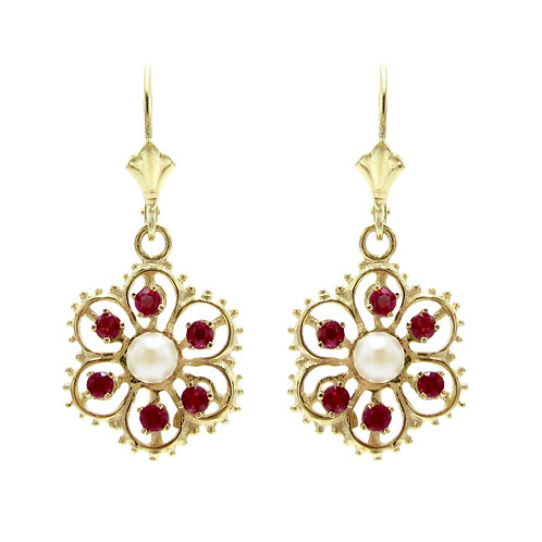 Ruby & Pearl 14K Yellow Gold Carla Dangle Earrings