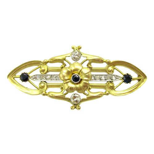 Art Nouveau Sapphire & Diamond Flower Brooch