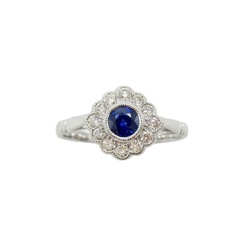 Vintage Style Sapphire & Diamond Engagement Ring