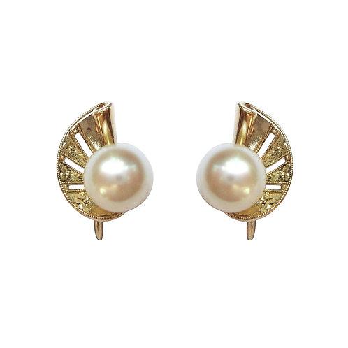 Mikimoto Vintage Akoya Pearl 14K Gold Earrings