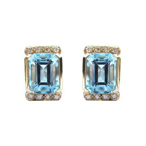 Swiss Blue Topaz & Diamond Omega Stud Earrings