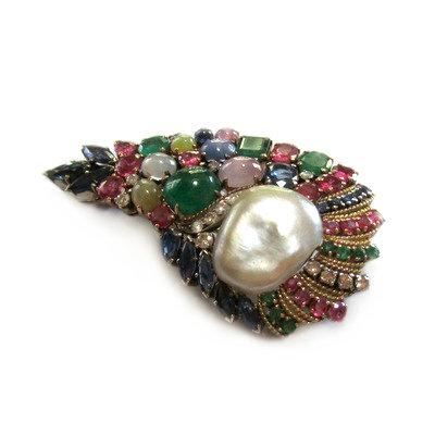 Paisley 'Tutti Frutti' & Baroque Pearl Brooch