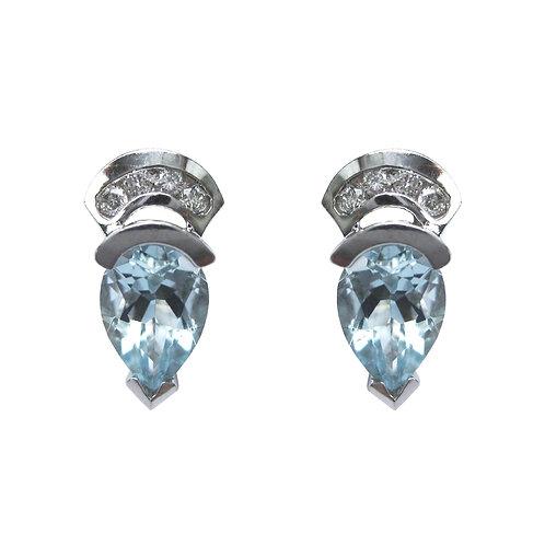 Aquamarine & Diamond 14K White Gold Earring Studs