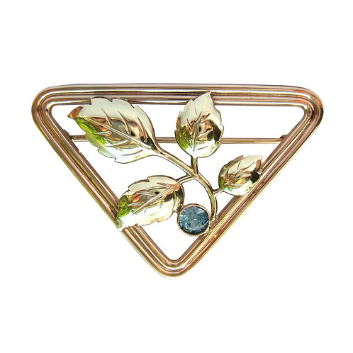 Blue Zircon Vintage Triangle Brooch Pin 10K Gold