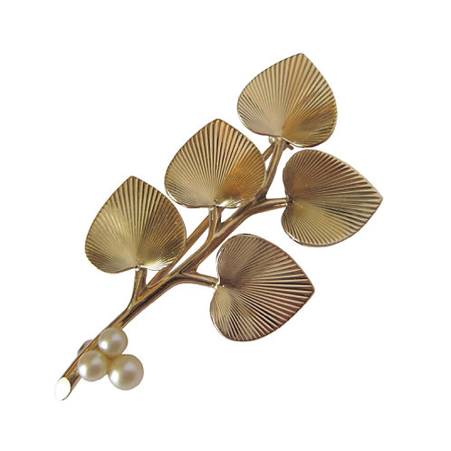 Vintage Branch Brooch with Heart Shaped Leaves