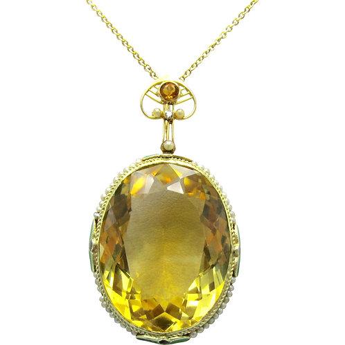 Citrine, Seed Pearl, Diamond & Enamel Pendant