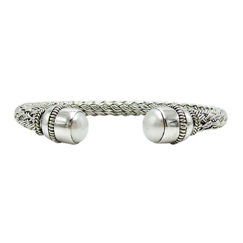 Woven Sterling Silver Mabe Pearl Flexible Cuff