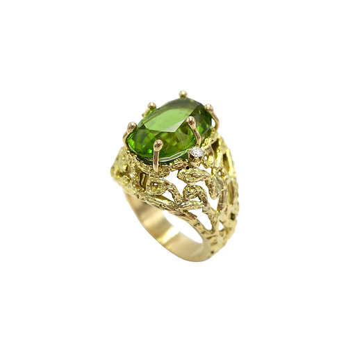 Vintage Brutalist Peridot & Diamond 14K Gold Ring