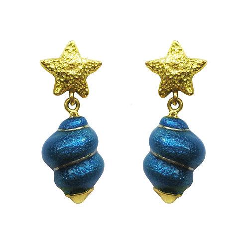 Susy Mor Sea Star & Shell Blue Enamel 18K Earrings