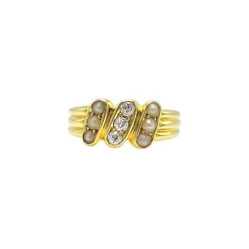 Manton & Mole Antique Old Mine Cut Diamonds, Natural Pearls, 18K Gold Ring