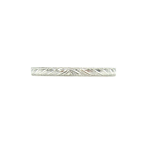 Platinum Hand Engraved Running Leaf Wedding Band