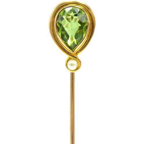 Antique Peridot & Seed Pearl Art Nouveau Stick Pin